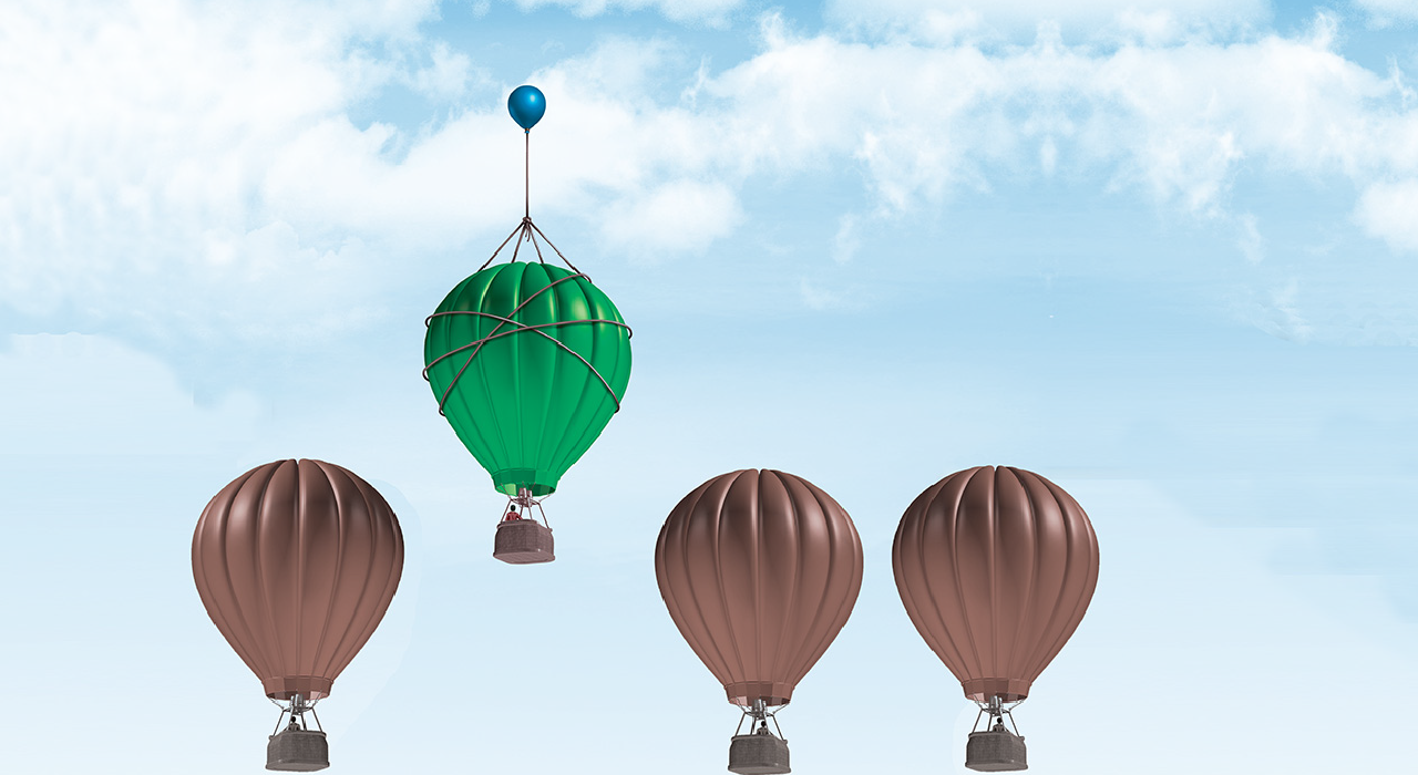 Header, diferent colored air ballons and the green air ballon represents our quality service